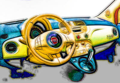 Fiat Car Painting - Fiat Steering Wheel by Lanjee Chee