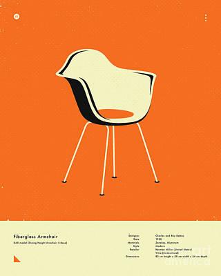 Infographic Digital Art - Fiberglass Armchair 1950 by Jazzberry Blue