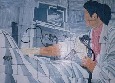 Fibroscopie 2005 Art Print by Mohamed-Hosni Belkorchi