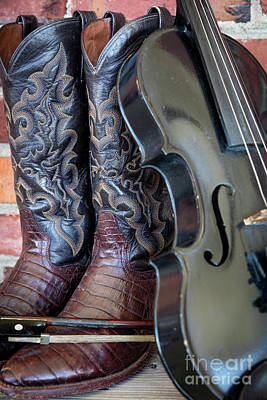 Photograph - Fiddle And Cowboy Boots by Brian Jannsen