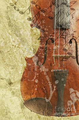Abstract Composite Digital Art - Fiddle In Grunge Style by Michal Boubin