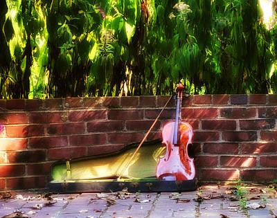 Violin Digital Art - Fiddle On The Garden Wall by Bill Cannon