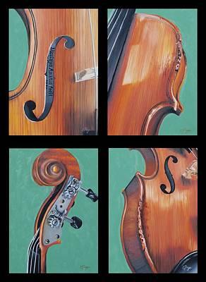 Fiddle Quartet Art Print by Emily Page