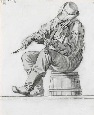 Fiddler Drawing - Fiddler by George Caleb Bingham