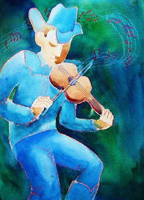 Art Print featuring the painting Fiddler by Marilyn Jacobson