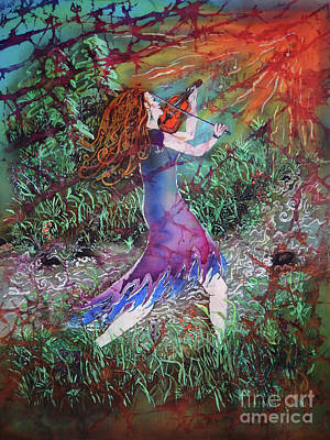 Tapestry - Textile - Fiddler Of The Forest 3 by Sue Duda