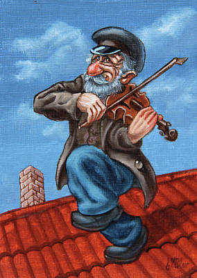 Painting - Fiddler On The Roof. Op.#2774.miniature by Victor Molev