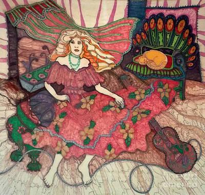 Orange Tabby Drawing - Fiddler's Bitch by Joy Calonico