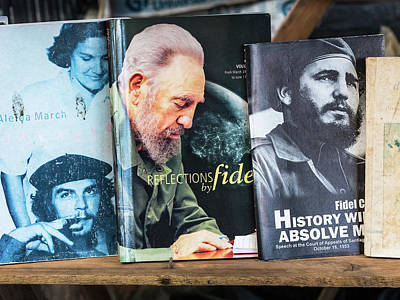Photograph - Fidel At The Used Book Sellers Market by Robin Zygelman