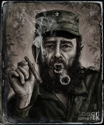 Digitalart Drawing - Fidel Castro by Andre Koekemoer