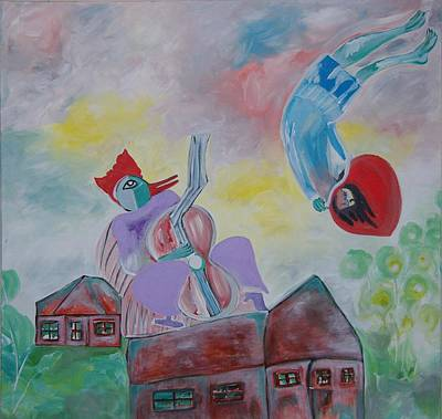 Art Print featuring the painting Fidler On The Roof by Sima Amid Wewetzer