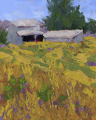 Painting - Field And Barns by David King