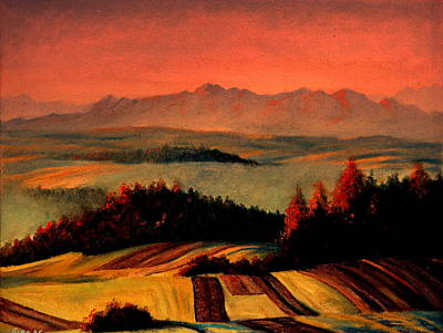 Painting - Field And Mountain by Henryk Gorecki