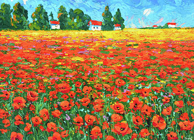 Painting - Field And Poppies Landscape by Dmitry Spiros
