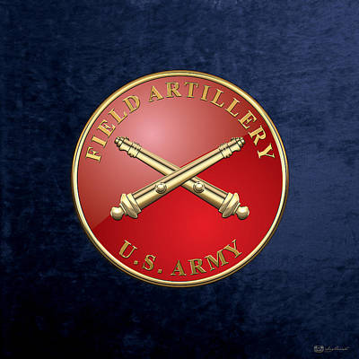 Field Artillery - Fa Branch Insignia Over Blue Velvet Original by Serge Averbukh