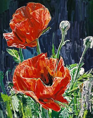 Digital Art - Field Flowers Red by Yury Malkov