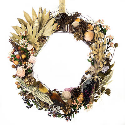 Field, Forest And Ocean Harvest Wreath Art Print by Lynne Albright