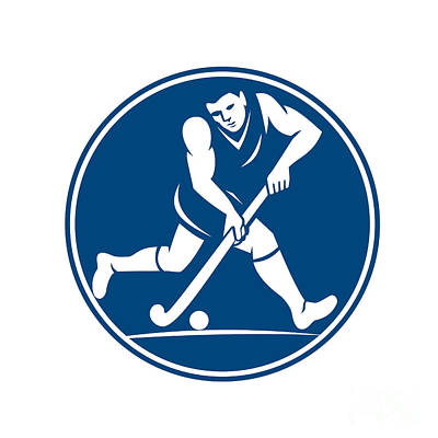 Iconography Digital Art - Field Hockey Player Running With Stick Icon by Aloysius Patrimonio
