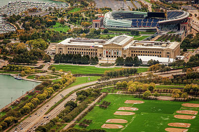 Soldier Field Photograph - Field Museum And Soldier Field by Andrew Soundarajan