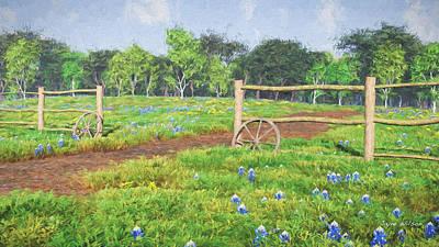 Country Dirt Roads Digital Art - Field Of Bluebonnets by Jayne Wilson
