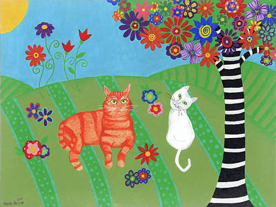 Painting - Field Of Cats And Dreams by Amanda Johnson
