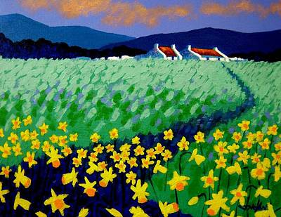 Cottage Ireland Painting - Field Of Daffs by John  Nolan