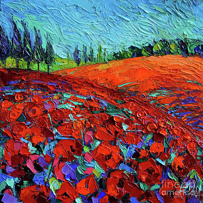 Mountain Painting - Field Of Dreams Modern Impressionist Palette Knife Oil Painting by Mona Edulesco