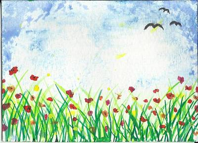 Field Of Flowers Aceo Card Original
