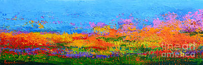 Painting - Abstract Field Of Wildflowers, Modern Art Palette Knife by Patricia Awapara