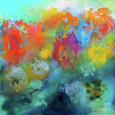 Painting - Field Of Flowers. Painting. by Robert Birkenes