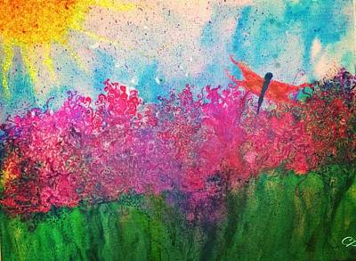 Painting - Field Of Flowers W Firefly by Christine Paris