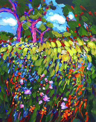 Wall Art - Painting - Field Of Fowers by Charles Wallis