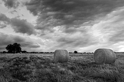 Field Of Hay Black And White 2 Original by Paul Huchton