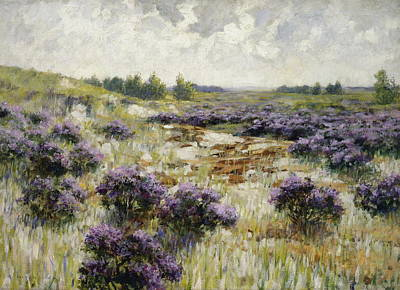 Heather Painting - Field Of Heather by George Hitchcock
