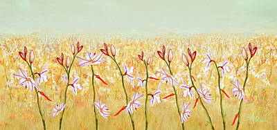 Primavera Painting - Field Of Lilies by Angeles M Pomata