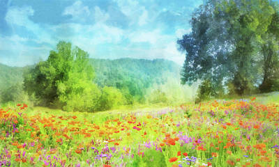 Digital Art - Field Of Poppies 2 by Francesa Miller