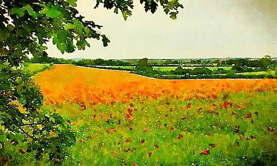 Impressionism Paintings - Field of Poppies by John Springfield by Esoterica Art Agency