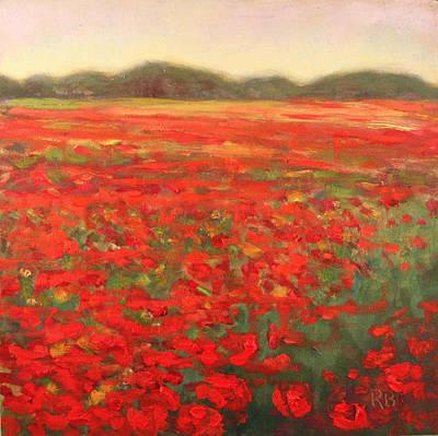Field Of Poppies Landscape Art Print by Robie Benve