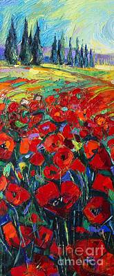 Painting - Field Of Poppies Modern Impressionism Palette Knife Oil Painting By Mona Edulesco by Mona Edulesco