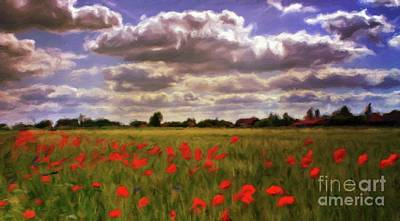 Poppies Field Painting - Field Of Poppies by Sarah Kirk