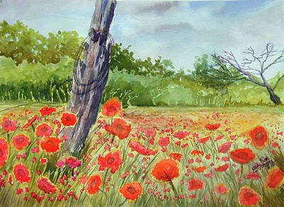 Field Of Red Flowers Art Print by Ron Stephens