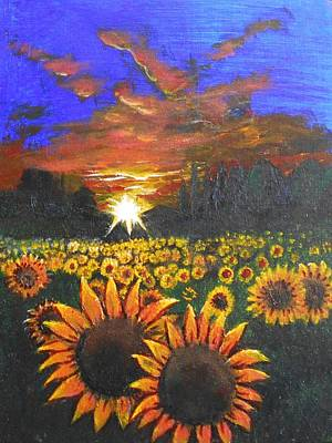 Mixed Media - Field Of Sunflowers by Angela Stout