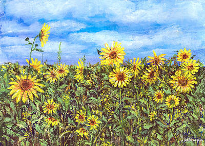 Sunflower Painting - Field Of Sunflowers by Arline Wagner