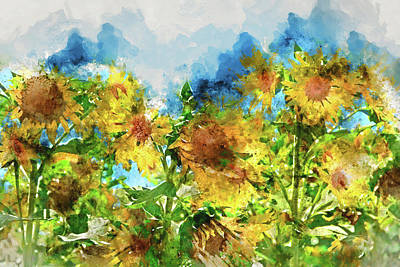 Field Of Sunflowers Art Print by Brandon Bourdages