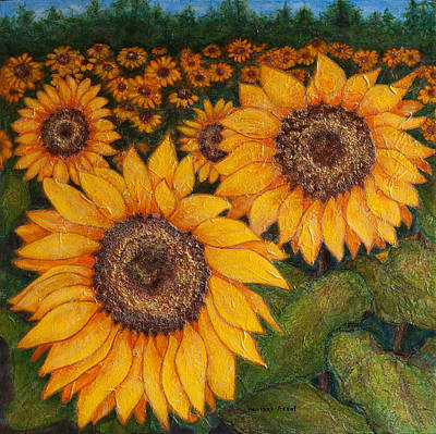 Field Of Sunflowers Art Print by Heather Assaf