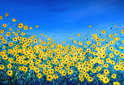 Field Of Sunflowers Original by K McCoy