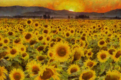 Sunset Digital Art - Field Of Sunflowers by Mark Kiver