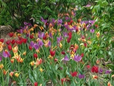 Digital Art - Field Of Tulips by Kathie Chicoine