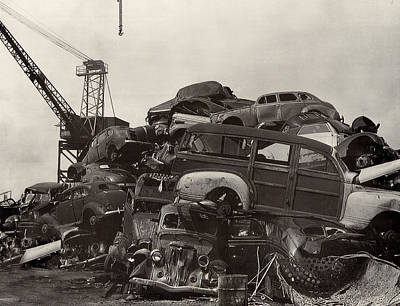 1946 Chrysler Town And Country Convertible Photograph - Junk Yard Of Woody Dream Cars by Jack Pumphrey