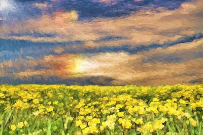 Gods Sunshine Painting - Field Of Yellow Daffodils by Dan Sproul